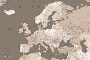 Mapa Detailed map of Europe in earth tones