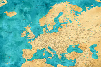 Mapa Detailed map of Europe in gold and teal watercolor