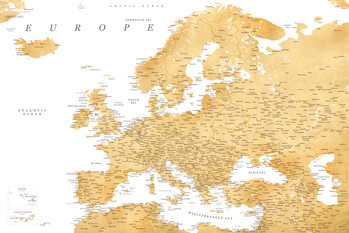 Mappa Detailed map of Europe in gold