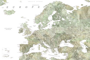 Mapa Detailed map of Europe in green watercolor