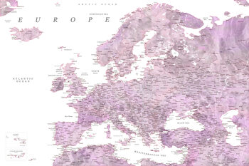 Mapa Detailed map of Europe in mauve watercolor