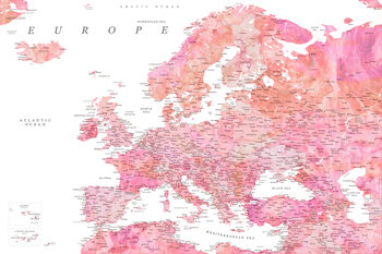 Mapa Detailed map of Europe in pink watercolor