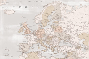 Карта Detailed map of Europe in rustic style