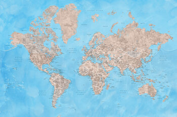 Kort Detailed watercolor world map in brown and blue, Bree