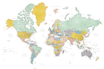 Karta Detailed world map in mid-century colors, Patti