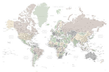 Karta Detailed world map with cities in muted down colors, Anouk