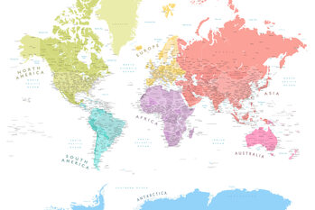 Kort Detailed world map with continents in pastels