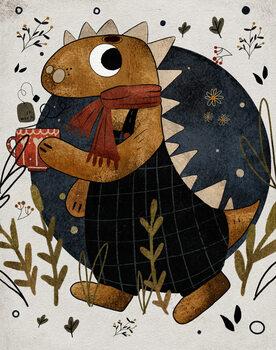 Illustration Dino with a Tea