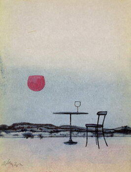 Obrazová reprodukce Displaced red wine from glass on outside table becomes the Setting Sun