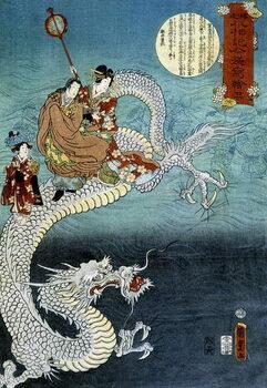 Εκτύπωση έργου τέχνης Dragon and Japanese in traditional costume - Japanese print by Kounisoda