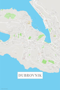 Kaart Dubrovnik color