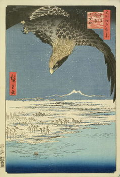 Eagle Over 100,000 Acre Plain at Susaki, Fukagawa ('Juman-tsubo'), from the series '100 Views of Edo' ('Meisho Edo hyakkei'), pub. by Uoya Eikichi, 1857, (colour woodblock print) Reproduction de Tableau