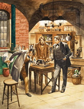 Edison demonstrating the first phonograph in his laboratory Reproduction de Tableau