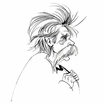 Reprodukcija umjetnosti Edvard Grieg, Norwegian composer , sepia line caricature