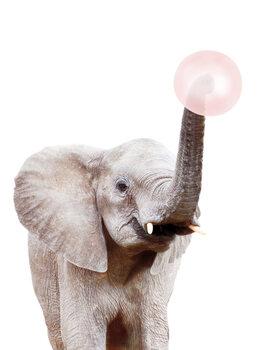 Umjetnička fotografija Elephant with bubble gum