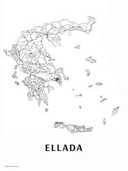 Karta Ellada black & white