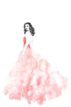 Ilustracja Fashion illustration long coral dress