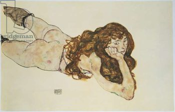 Female Nude Lying on her Stomach Kunstdruk