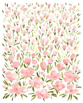 Ilustración Field of pink watercolor flowers