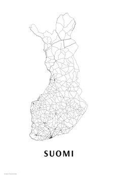 Karta Finland black & white