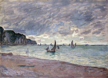 Fishing Boats in front of the Beach and Cliffs of Pourville, 1882 Kunstdruk
