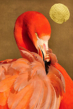 Illustration Flamingo With Golden Sun