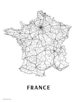 Karta France black & white