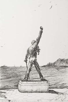 Freddie Mercury Statue Montreux Switzerland, 2009, Reproduction de Tableau
