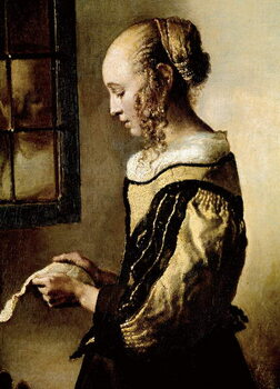 Obrazová reprodukce Girl at a window reading a letter