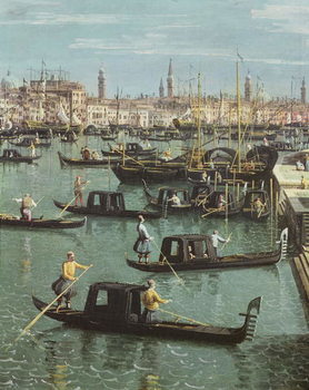 Gondoliers near the Entrance to the Grand Canal and the church of Santa Maria della Salute, Venice (oil on canvas) Reproduction d'art