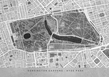 Gray vintage map of Kensington Garden London Térképe