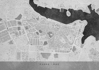 Gray vintage map of Mahon Térképe