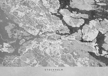 Mapa Gray vintage map of Stockholm