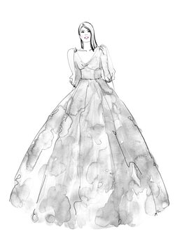 Illustration Gray watercolor dress fashion illustration