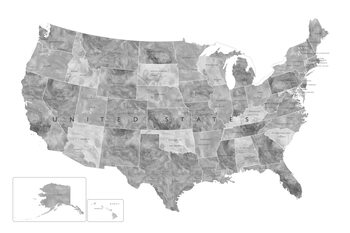 Mapa Gray watercolor map of the US with state capitals