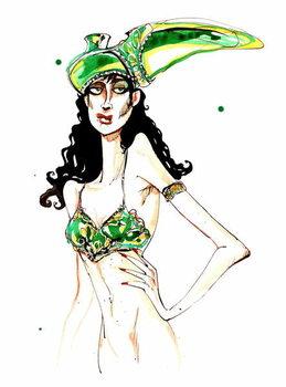 Kunstdruck Green art deco shoe hat: