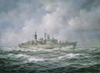 H.M.S. Exeter at Sea, 1990 Kunstdruk