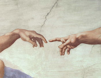 Hands of God and Adam, detail from The Creation of Adam, from the Sistine Ceiling, 1511 (fresco) Reproduction de Tableau