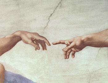 Художествено Изкуство Hands of God and Adam, detail