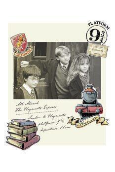 Umetniški tisk Harry Potter - Hermiona, Harry in Ron