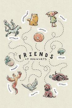 Plakat Harry Potter - Przyjaciele w Hogwarcie