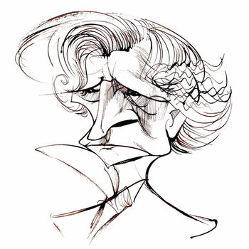 Reproduction de Tableau Hector Berlioz, French composer , sepia line caricature