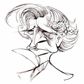 Reprodukcija umjetnosti Hector Berlioz, French composer , sepia line caricature