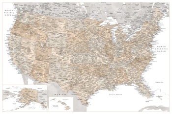 Mapa Highly detailed map of the United States in neutral watercolor