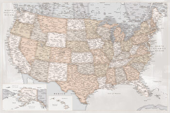 Mapa Highly detailed map of the United States in rustic style