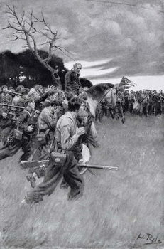 Kunsttryk 'His army broke up and followed him, weeping and sobbing'