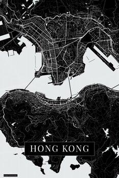 Mapa Hong Kong black