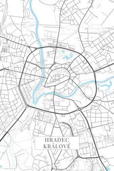 Mapa Hradec Kralove white