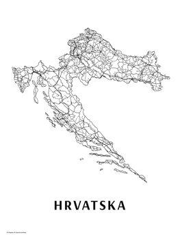 Mapa Hrvatska black & white