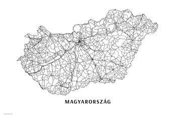 Harta Hungary black & white